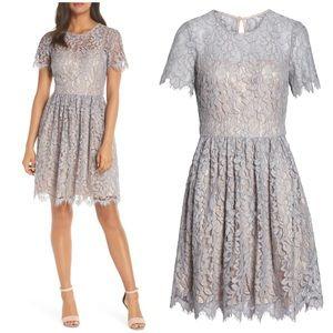 Eliza J Lace Fit & Flare Dress - Grey